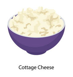 Cottage cheese bowl vector
