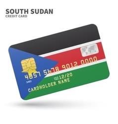 Credit card with South Sudan flag background for vector
