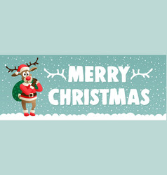 cute cartoon reindeer dressed in a costume santa vector image
