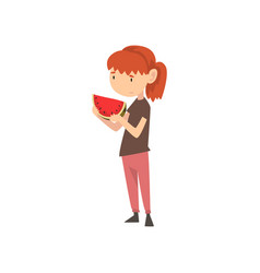 Cute girl does not want to eat watermelon child vector