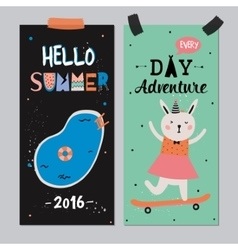 Cute Hello Summer Posters vector