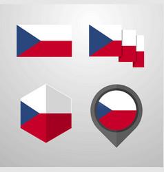 Czech republic flag design set vector