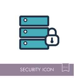Database sign and padlock icon vector