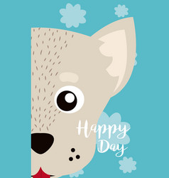 dog cute animal cartoon card vector image