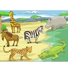 Educational game African savannah animals vector image