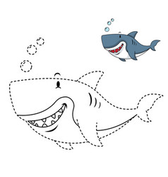 educational game for kids and coloring book-shark vector image