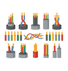 Electric wires single core and multicore set vector