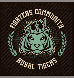emblem design with tiger in crown vector image