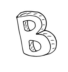 English alphabet - hand drawn letter B text vector