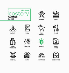 farming - modern line design style icons set vector image