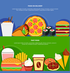 fast food delivery service flat banners vector image
