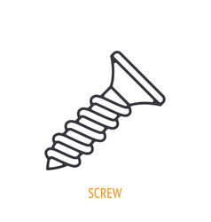 Fastener screw outline icon hand work tools vector