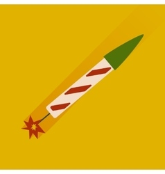 Flat icon with long shadow fireworks rocket vector