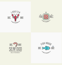 Four styles for logo of fish or sushi restaurant vector