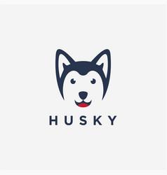 fun minimalist smiley siberian husky dog logo vector image