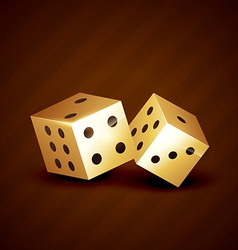 Golden dice spinning design vector