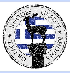 Grunge rubber stamp with the Rhodes Island Greece vector