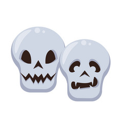 Halloween skulls heads isolated icons vector