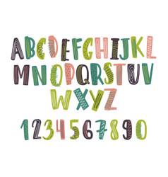 hand drawn latin font or childish english alphabet vector image
