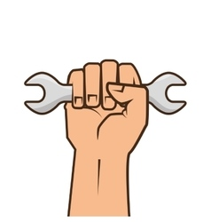 hand holding a wrench tool vector image