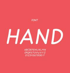 Hand italic font alphabet vector