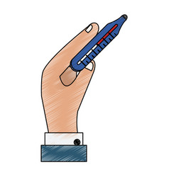 hand with thermometer vector image