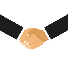 handshake of business partners in flat design on vector image