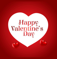 happy valentines day card with red background and vector image