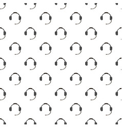 Headphones with microphone pattern seamless vector