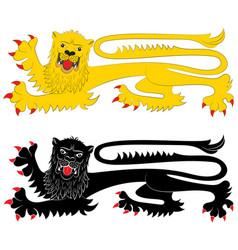 Heraldic lion in passant attitude vector