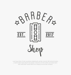 hipster logo for barber shop with blade vector image