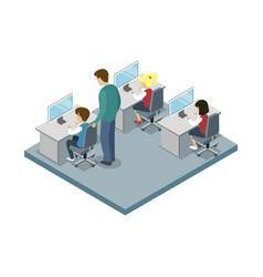 informatics lesson at school isometric icon vector image