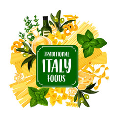 Italy foods icon with pasta from italian cuisine vector