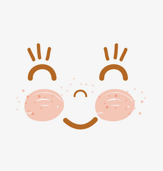 kawaii happy face with cheeks and eyes vector image