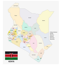 Kenya administrative and political map the vector