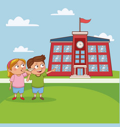 kids in school cartoon vector image