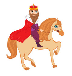 King is riding a horse - isolated drawing vector