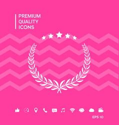 Laurel wreath with five stars - design symbol vector
