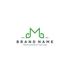 Leaf letter m logo design vector