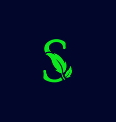 letter s leaf nature eco green logo template vector image