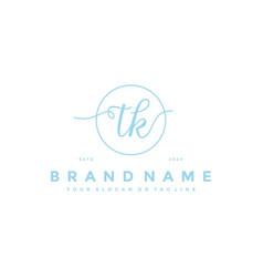 Letter tk feminine logo design vector