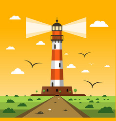 lighthouse sunset nature landscape cartoon vector image
