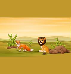 Lion and fox at savanna vector