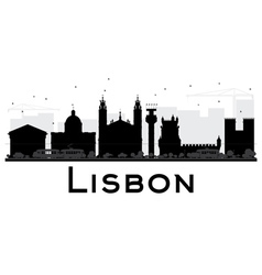 Lisbon City skyline black and white silhouette vector