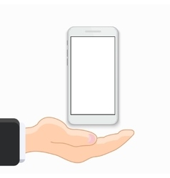 modern smartphone with hand on white vector image