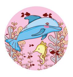 nice sea animals with seaweed plants vector image