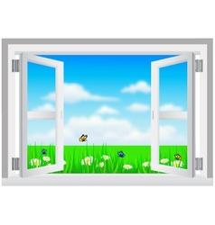 Open White Window with Scenery vector