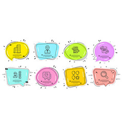 opinion friends chat and vacancy icons set vector image