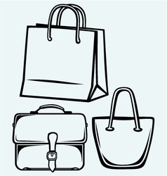 Paper bag and handbag vector