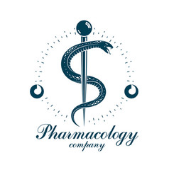 Pharmacy caduceus icon medical corporate logo for vector